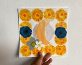 """Original Harvest Moon with Marigolds Print, Mixed Media, Collage, Printmaking, Not a Photo Copy, 8""""x8"""", 2020"""