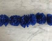 1/2 Dozen - Six Handmade Paper Crepe Flowers - Blue - Decorations, Events, Wall Art, Installations - Fall - 2019