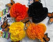 "Monarch Sampler, (4 Qty), 3.5"" Bloom, Cempasuchiles, Marigold Flowers, Handmade Paper Crepe Flowers, Day of the Dead, Dia de los Muertos"