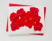 Handmade Red Flowers Paper Greeting Card - 2019