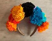 Handmade Paper Crepe Day of the Dead Headband, Dia de Los Muertos, Catrina, Cempasuchil, Marigold, Headband