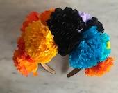 Handmade Paper Crepe Day of the Dead / Dia de Los Muertos / Catrina / Cempasuchil /Marigold  Adult Headband.