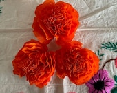 """Dia de Los Muertos Three,  (3 Qty), Handmade Paper Crepe Cempasuchil/ Marigold Flowers, 3.5"""" Bloom, No Assembly Required, 2020"""