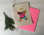 Pink - Gingerbread Cookie Hanging Ornament Greeting Card - Handmade -  2018
