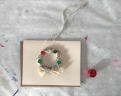 Handmade Holiday Corn Husk Wreath Greeting Card - 2018