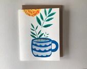 Marigold with Blue Mug Card - 2018
