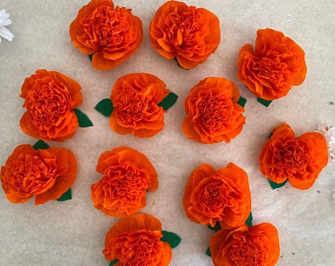 """Featured listing image: Handmade Paper Crepe Cempasuchil/ Marigolds with Leaves, 3.5"""" Bloom, 1 Dozen, No Assembly Required, 2020"""