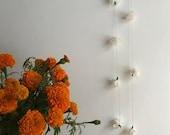 1 - 10' Paper Crepe White Flower PomPoms Garland - Wedding Decorations