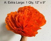 """One Extra Large Paper Crepe Marigold/ Cempasuchil Flower, 12"""" Bloom, 12"""" x 9"""", No Assembly Required, Handmade"""
