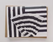 Des Rayures Blank Card - Stripes and Pleats - Licorice -  2019