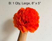 """One Large Paper Crepe Marigold/ Cempasuchil Flower, 8"""" Bloom, 8""""x5"""", No Assembly Required, Handmade"""