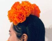 Day of the Dead Headband. Marigold Headband. Cempasuchil Paper Crepe Dia de los Muertos Headband - 2019