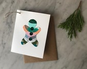 Green Gingerbread Cookie Greeting Card - Handmade - Collage - 2018