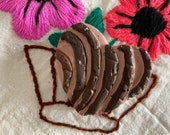 """One Handmade Paper Mache Chocolate Concha, Heart Style, Pan Dulce Sculpture, 2.50"""" x 2.50"""", One of A Kind, Made to Order, 2020"""