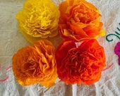 "Four Colors Sampler,  (4 Qty), 3.5"" Bloom, Cempasuchils/ Marigold Flowers, Handmade Paper Crepe Flowers, Dia de Los Muertos, Made to  Order"