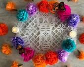 """Dia de Los Muertos, 1 Dozen,  (12 Qty), Multi Colors, Paper Crepe Cempasuchil/ Marigold Flowers, 3.5"""" Bloom, Handmade, 2019"""