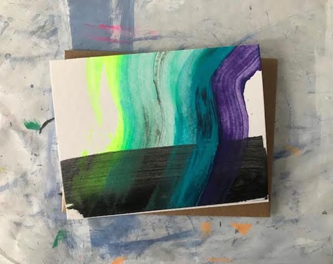 Featured listing image: Handprinted Northern Lights Card - 2019