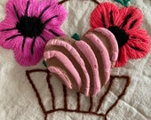 """One Handmade Paper Mache Strawberry Concha, Heart Style, Pan Dulce Sculpture, 2.50"""" x 2.50"""", One of a Kind, Made to Order, 2020"""