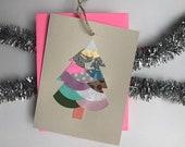 Winter Pine Collage Hanging Greeting Card - 2018