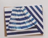 Des Rayures Blank Card - Stripes and Pleats - Navy Blue -  2019