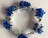Handmade Winter Holiday Wreath - Paper Crepe - Blue & Silver - 2019