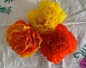 """Dia de Los Muertos Trio, (3 Qty), Handmade Paper Crepe Cempasuchil/ Marigold Flowers, 3.5"""" Bloom, No Assembly Required, Made to Order"""