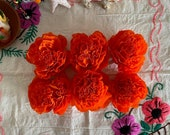 "Dia de Los Muertos, Six,  (6 Qty), Handmade Paper Crepe Cempasuchil/ Marigold Flowers, 3.5"" Bloom, No Assembly Required, 2020"