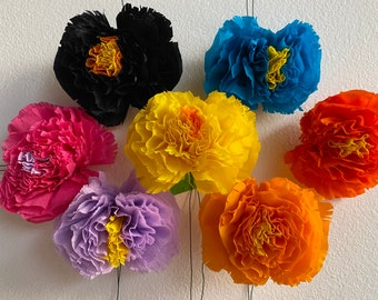"""1 qty Handmade Mexican Paper Crepe Flower, with 4"""" wire, Mix & Match, Various Colors"""