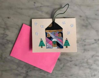 Hanging Ornament Card - Winter House - 2017