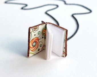 Mini Leather Book Pendant Necklace - 35 inch length
