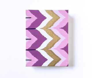 Envelope Journal - Small Capsule Notebook - A2 - Purple, Pink, and Gold Chevrons - Ikat Print