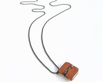 Mini Leather Book Pendant Necklace with Bronze Arrow