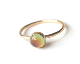 14kt Gold Small Mood Ring, Stacking Ring