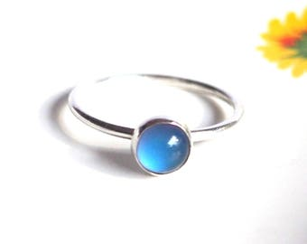 Mood Ring, Small Stacking Sterling Silver