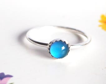 Small Stacking Mood Ring, Sterling Silver