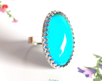 Mood Ring, Large Crown Sterling Silver