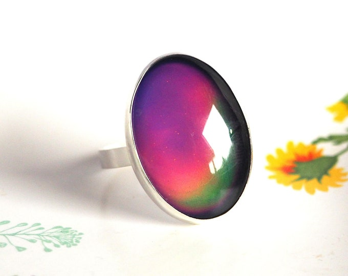 Sterling Silver Large Mood Ring, Cocktail Ring