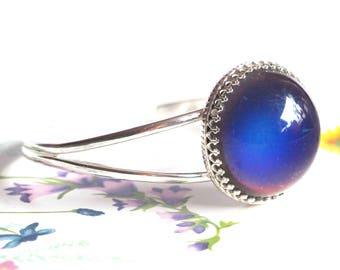 Large Round Mood Cuff Bracelet in Sterling Silver Adjustable