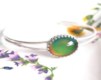 Crown Mood Cuff Bracelet in Sterling Silver Adjustable, Color Changing Bracelet