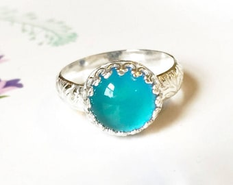 Mood Ring with Floral Band, Sterling Silver, Medium Round with Color Changing Stone