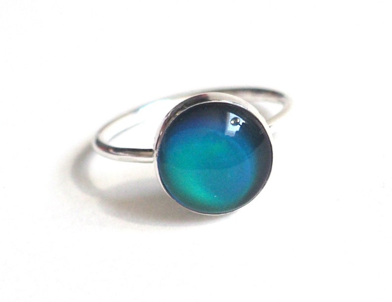 Mood Ring Medium in Sterling Silver with Color Meaning Chart image 0