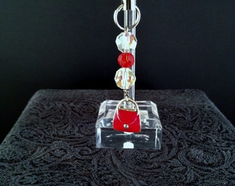 Zipper Pull Charm Lanyard Cell Phone Charm Red Purse Clear and Red Beads