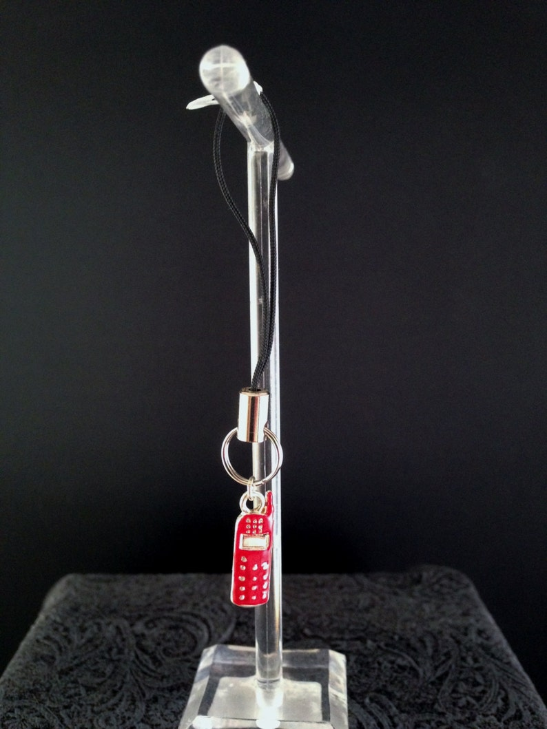 Red Cell Phone Charm on lanyard zipper pull