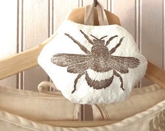 Bumble Bee Dried Lavender Cotton Sachets | Block Printed Sachets | Stocking Stuffers | Small Gift | Party Favors