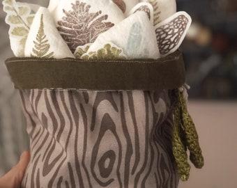 Mini Cotton Twill Drawstring Project Bag in Woodgrain design Crochet Knitting and Storage Bag