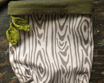 Woodgrain Cotton Twill Drawstring Project Bag  Crochet and Knitting Storage Bag