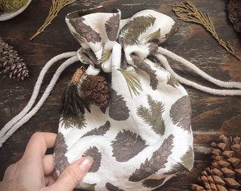 Mini Cotton and Linen Drawstring Project Bag Woodland Print Crochet Knitting and Storage Bag