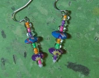 Fimo and glass bead earrings
