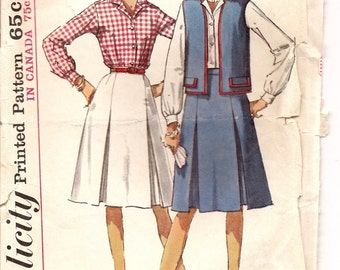 Simplicity 5931 Sixties Skirt, Vest and Blouse Pattern  Size 12