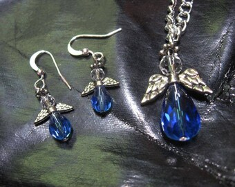 Blue Angel earrings and necklace
